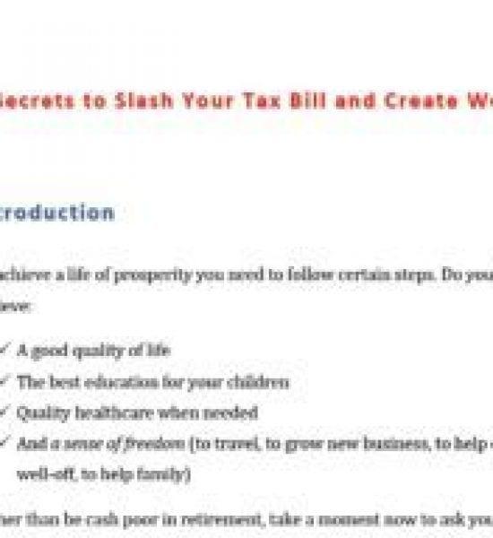 Tax Savings report writing